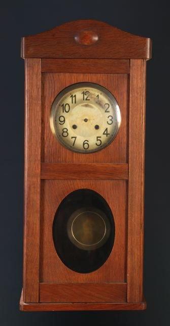 10: German oak case wall clock, time & strike movemen