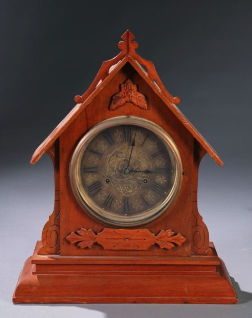 11: New Haven mantle clock in case with steeple top,
