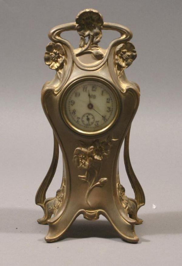 20: Art Nouveau design spelter clock, Jennings Bros