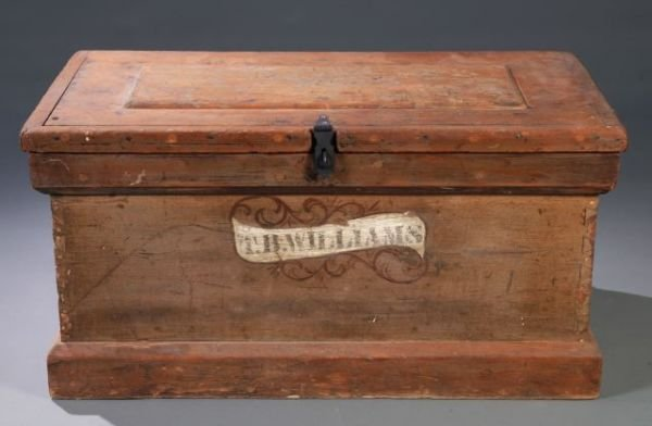 24: Softwood tool chest with raised panel lid,