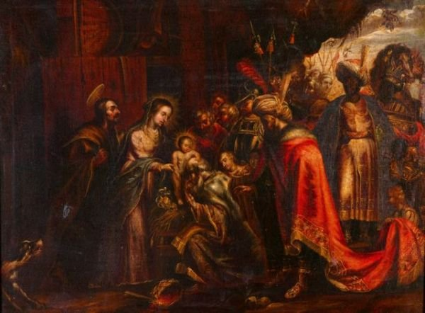 198: Unknown artist painting of the Three Kings,Jesus
