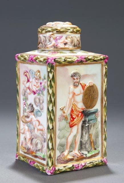 262: Capo di Monte jar with cherub designs
