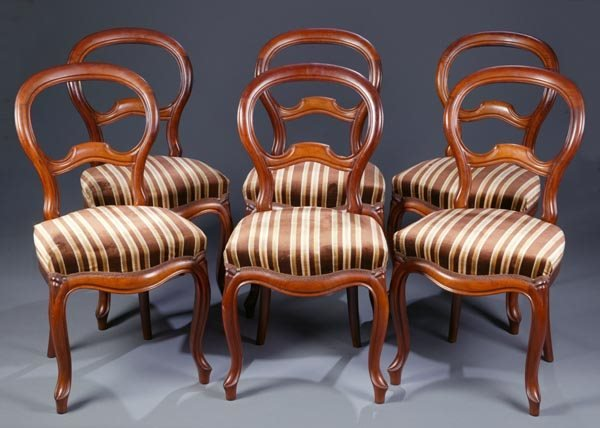 418: Set of 6 Victorian balloon back chairs