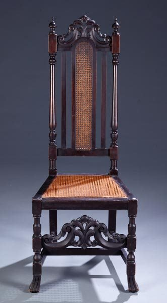 424A: Oak William & Mary style high back chair
