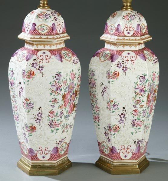 687: Pair of porcelain lamps