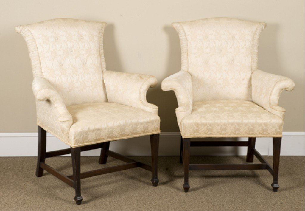 3: Pair of American early Federal easy chairs.
