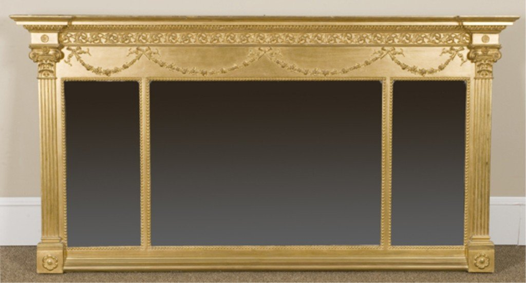 4: Federal style gilt wood over mantle mirror.