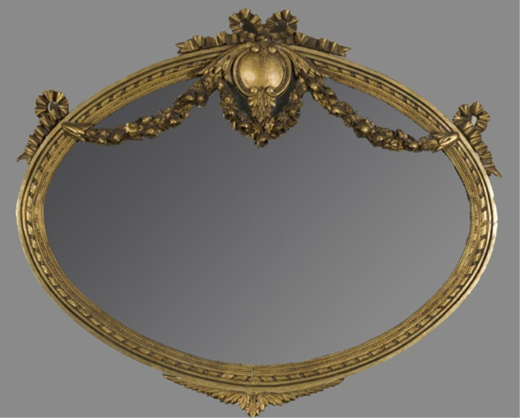 5: 19th French  Louis XVI style giltwood mirror.