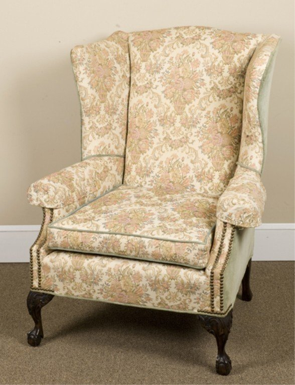 7: Am. late 19thc Chippendale style wing back chair.