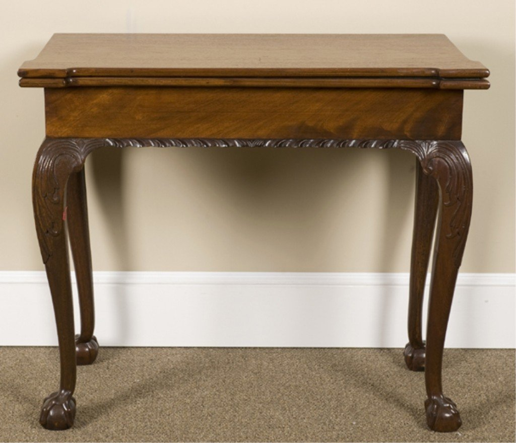 9: Chippendale Style Flip Top Game Table.