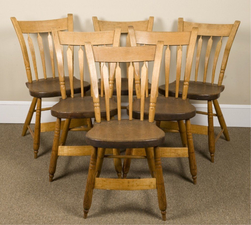 12A: Six stamped spindle back kitchen chairs.