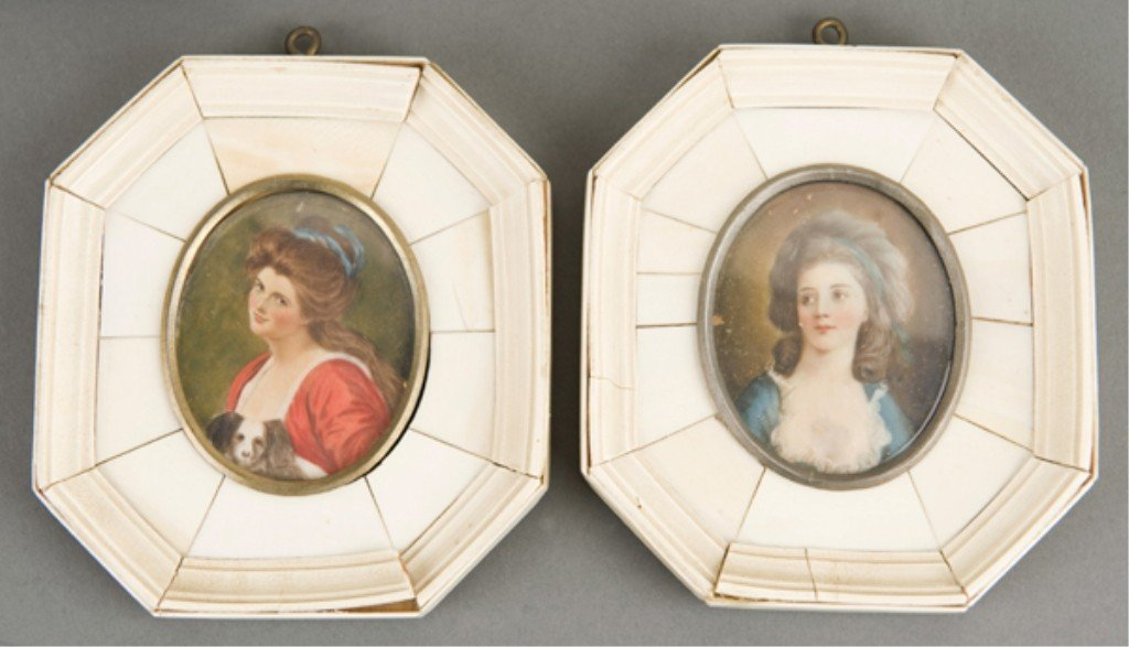 57: 5 late 19th/early 20th century portrait miniatures - 3