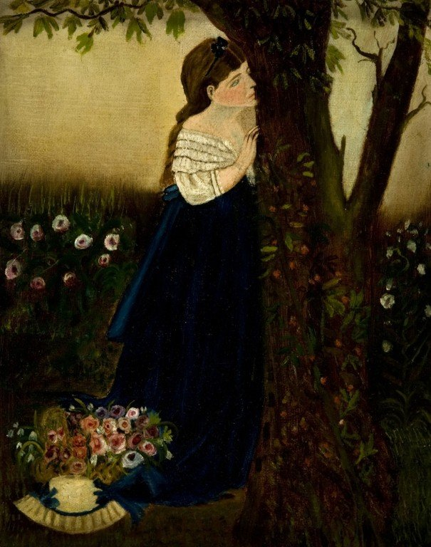 69: Late 19th century painting of girl behind tree.