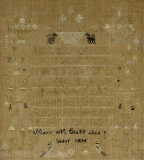 American Sampler Signed Mary M. Clapp