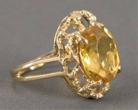 14KT Yellow Gold And Lemon Citrine Ring
