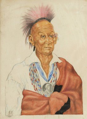 Pencil Drawing Of Native American Chieftain, 1889.