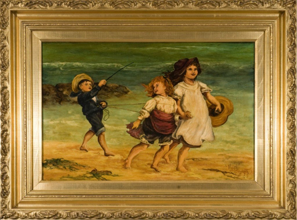 "210: 19thc. o/c of children on the beach signed ""Neal""."