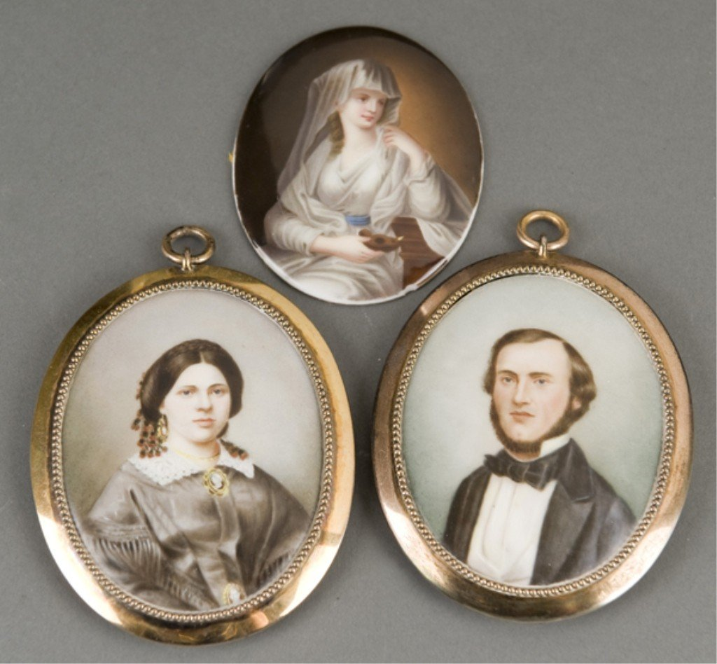 225: 3 19thc hand painted German/American miniatures.