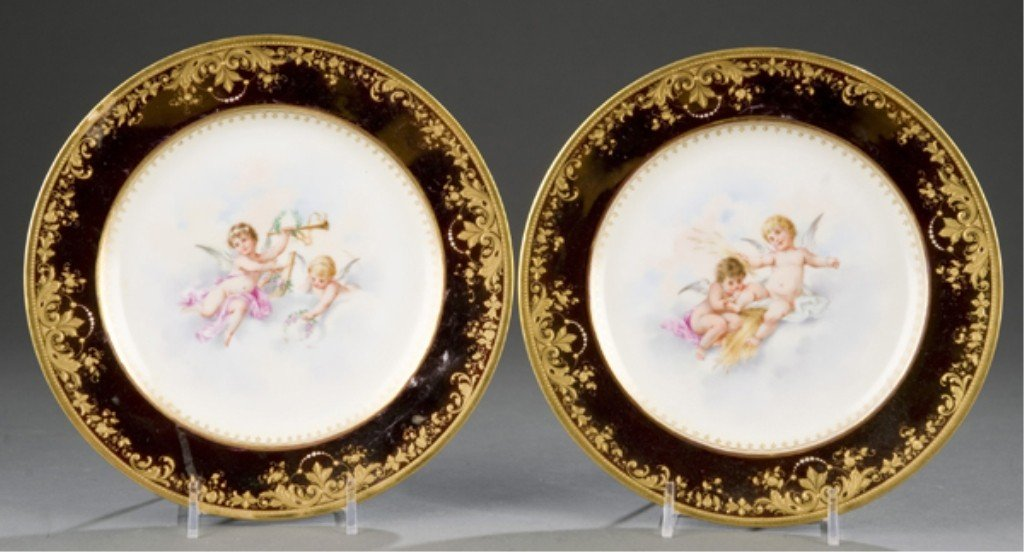 228: Pair of Dresden/Lamm hand painted plates.