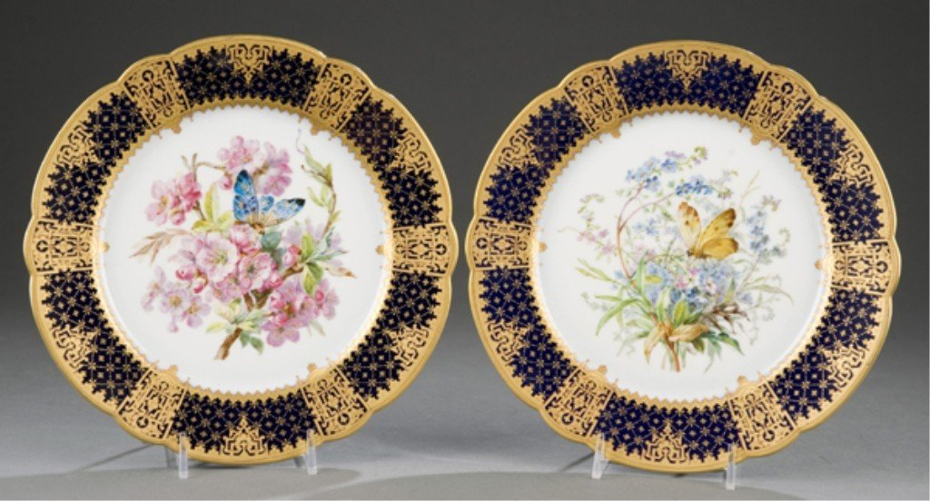 229: Group of 2 Pillivuyt hand-painted cabinet plates.