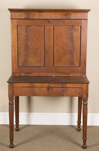 3A: Drop front mahogany veneered secretary desk.