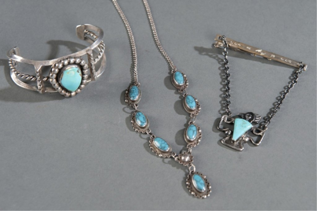 6: Group of silver and turquoise jewelry.