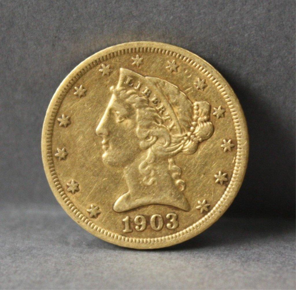 303: United States1903 gold $5 half eagle.