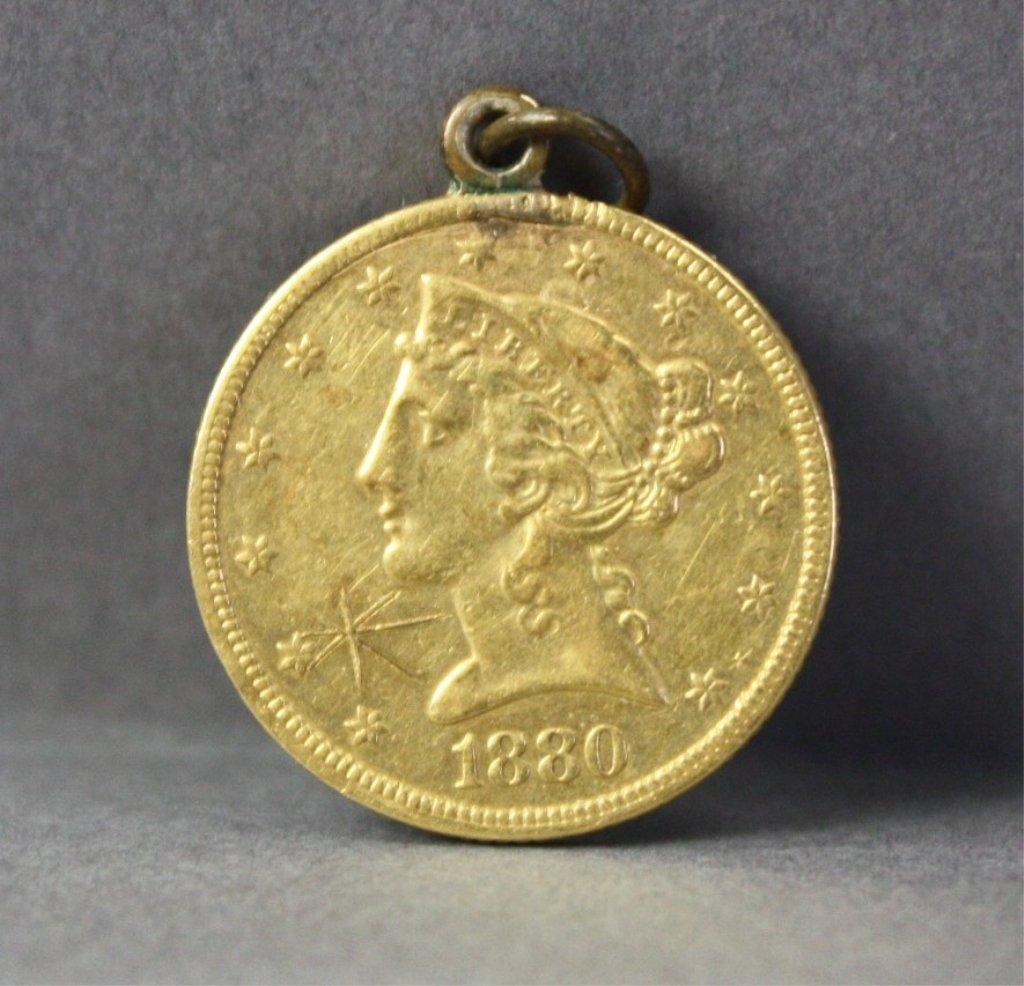 304: United States 1880 $5 gold half eagle.