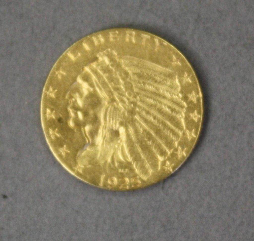 305: United States 1925 $2.50 gold quarter eagle.