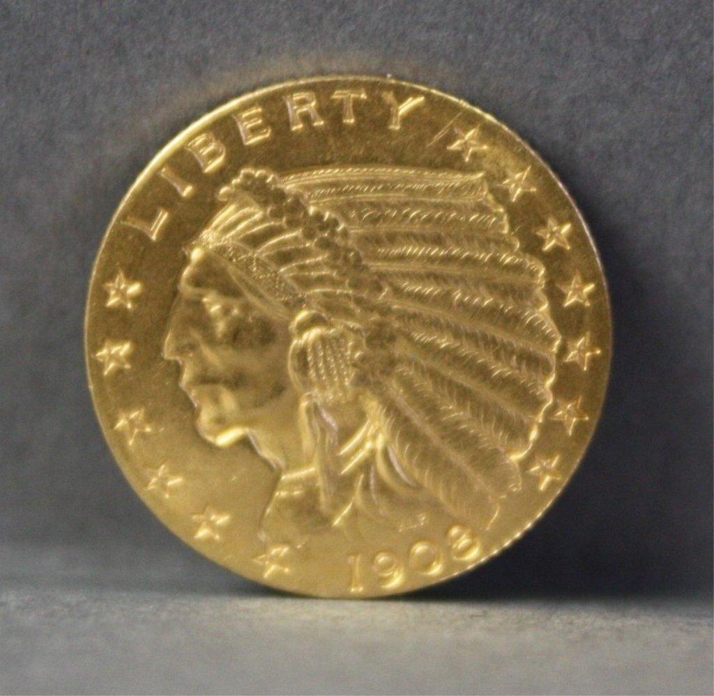 306: United States1908 $2.50 gold quarter eagle.