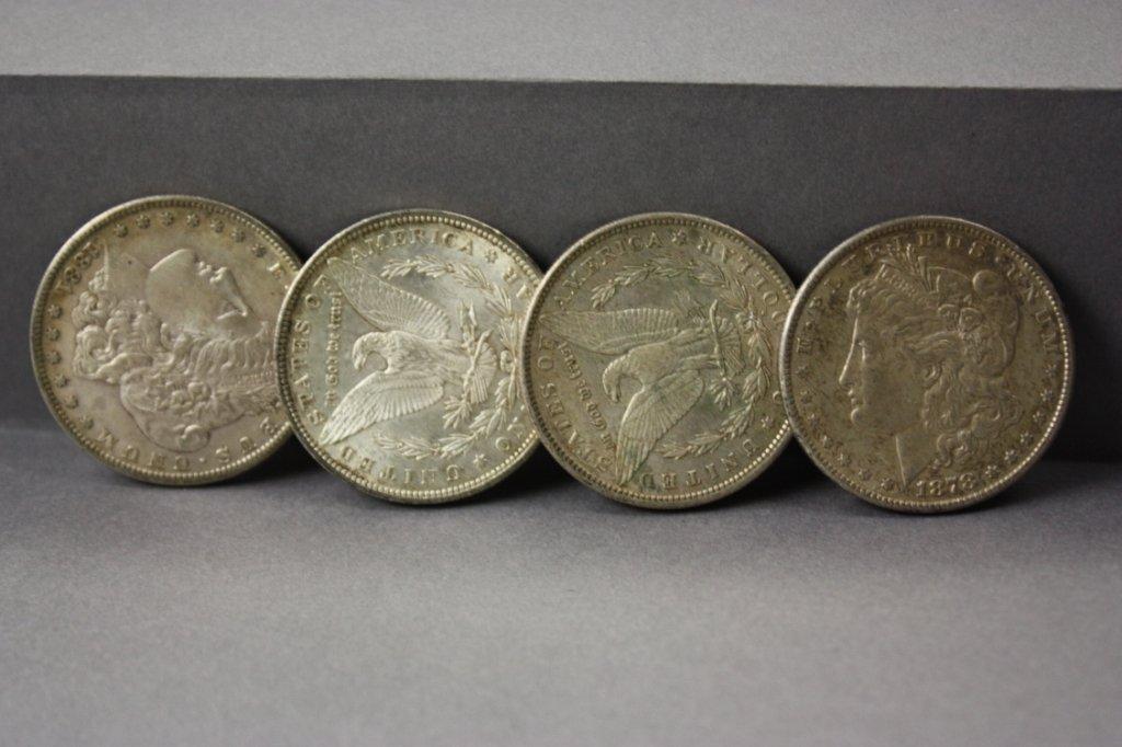 317: Lot of 4 Morgan Silver dollars -