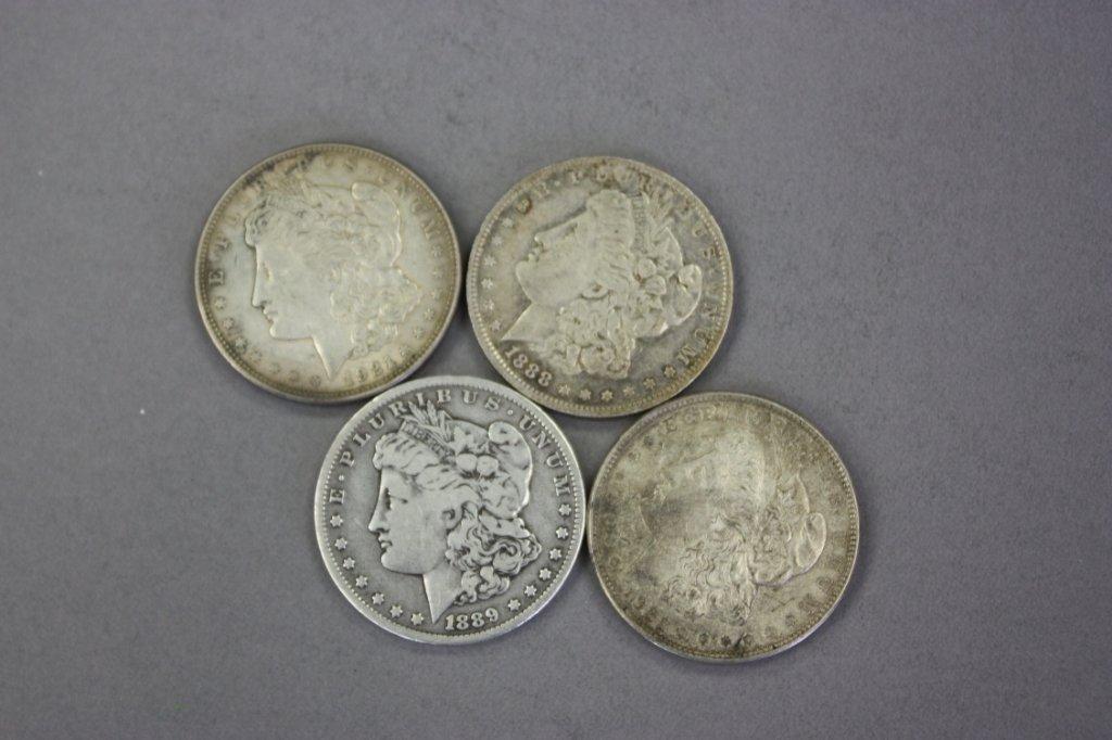 323: Lot of 4 Morgan Silver Dollars
