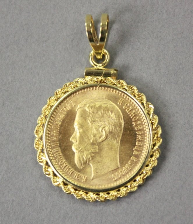 409: Russian 5 ruble gold coin, 1900  w/ pendant mount.