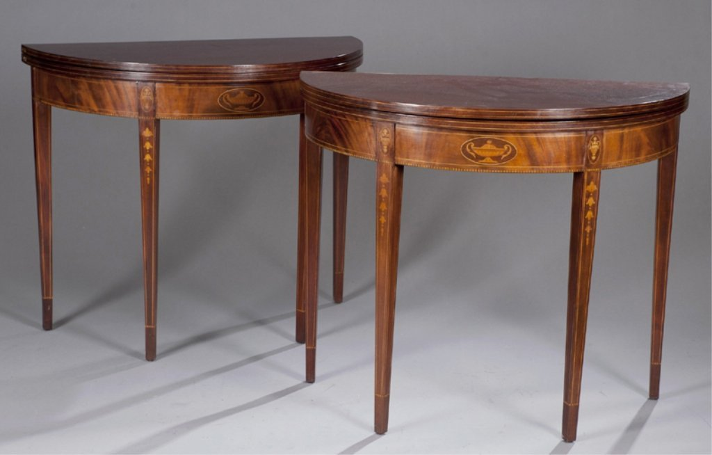 14: Pair of 20thC Demi Lune Tables.