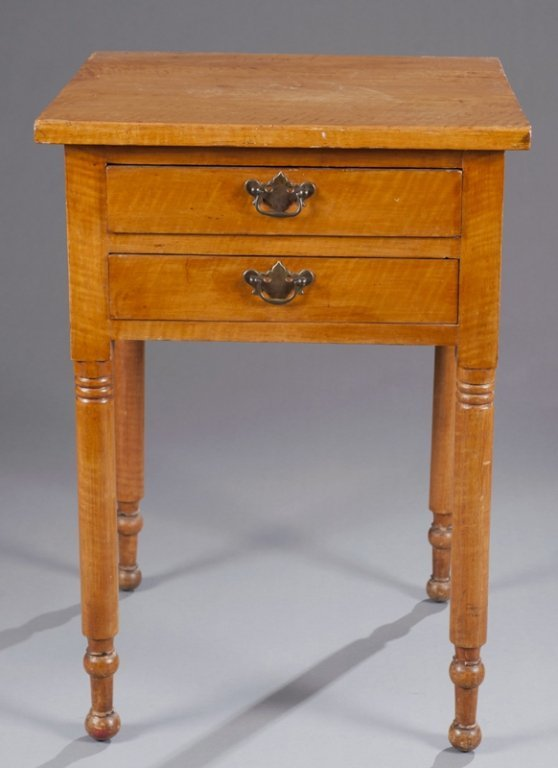 16: Am. Federal two drawer work table mid 19thC.