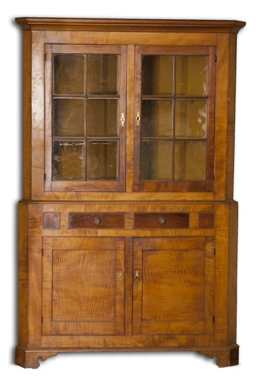 17: Chippendale tiger maple veneer corner cupboard.