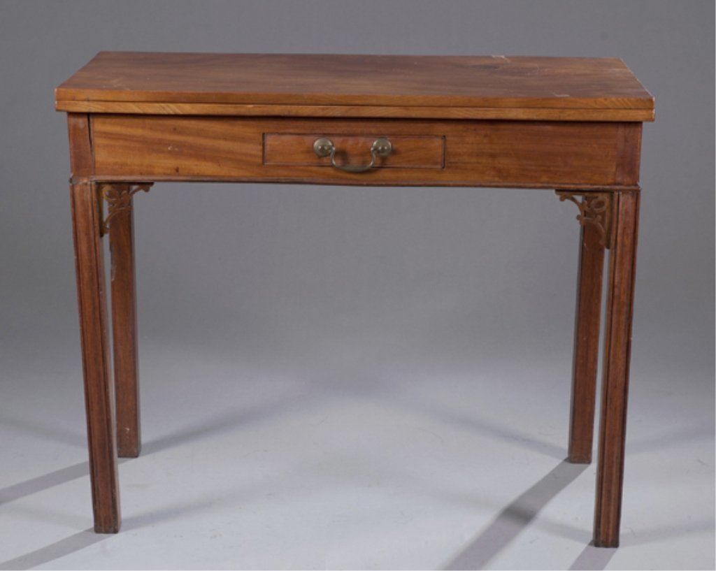 21: Married Chippendale flip top table, 18c.