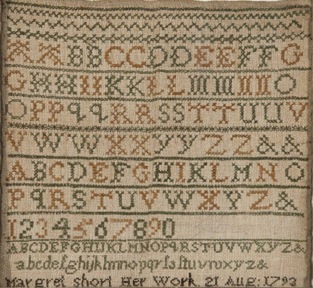 91: 1793 alphabet sampler by Margret Short.