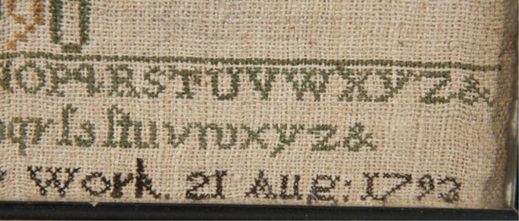 91: 1793 alphabet sampler by Margret Short. - 2