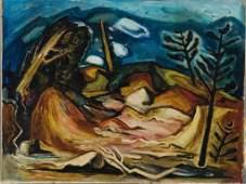 148: Hale Aspacio Woodruff oil on canvas landscape.