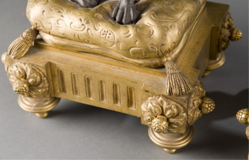 208: 2 19thC bronze Louis XVI style dog & cat chenets. - 2