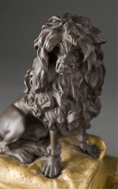 208: 2 19thC bronze Louis XVI style dog & cat chenets. - 3
