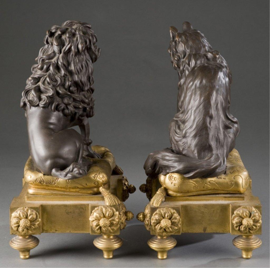 208: 2 19thC bronze Louis XVI style dog & cat chenets. - 5