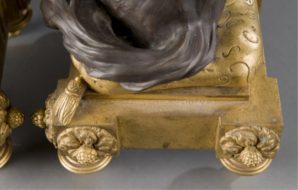 208: 2 19thC bronze Louis XVI style dog & cat chenets. - 6