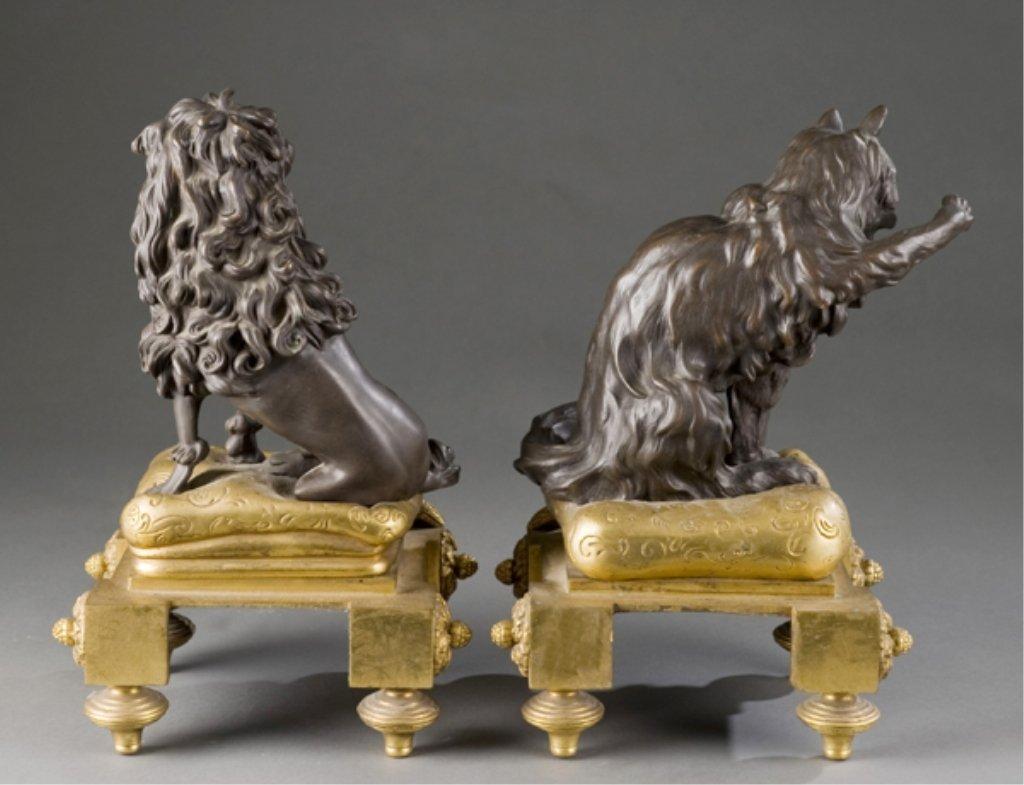 208: 2 19thC bronze Louis XVI style dog & cat chenets. - 7