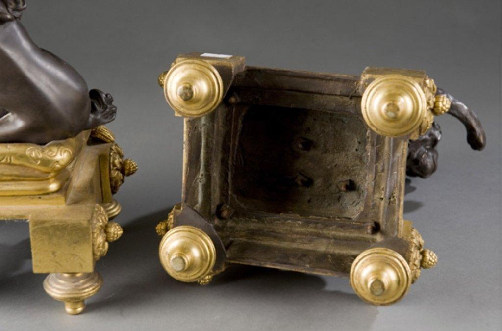 208: 2 19thC bronze Louis XVI style dog & cat chenets. - 8