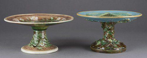 2 Majolica compotes, 19th century.