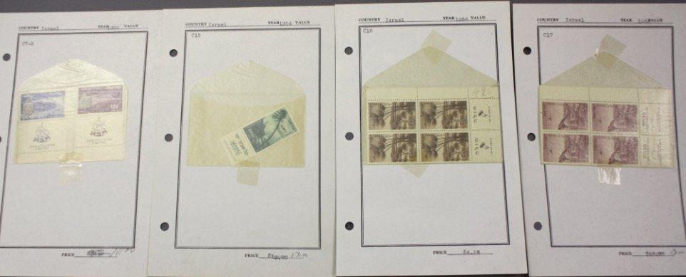 Israel 1952 TABA Airmail, 1953 airmail tab blocks.