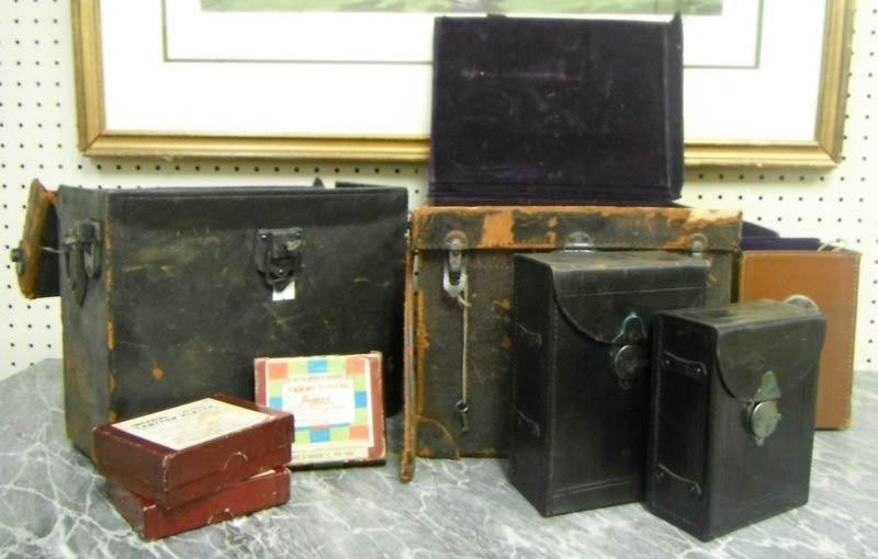 10: Box of glass magic lantern slides & camera cases.
