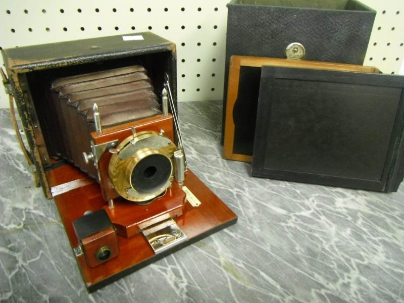 12: Large format plate bellows camera.